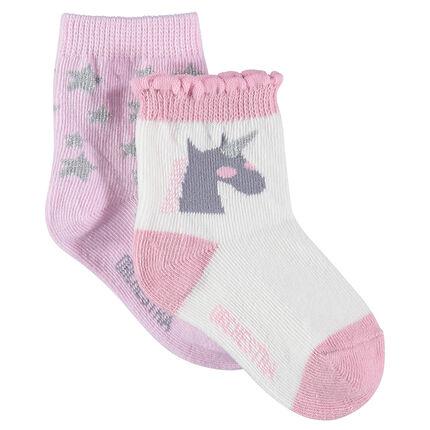 Lot de 2 paires de chaussettes assorties motif étoiles et licorne