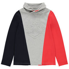 Junior - Sous-pull tricolore avec motif en relief et col roulé