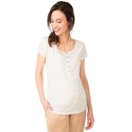 Tee-shirt de grossesse manches courtes chiné avec reflets dorés