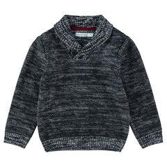 Pull en tricot chiné avec col châle boutonné