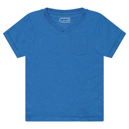 Junior - Tee-shirt manches courtes en slub uni avec poche