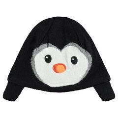 Bonnet en tricot avec motif pingouin en velours et doublure velours