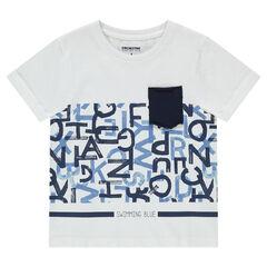 Tee-shirt manches courtes avec lettre printées et poche