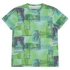 Junior - Tee-shirt manches courtes en jersey avec palmiers all-over