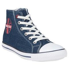 Baskets montantes en jeans à lacets élastiques du 28 au 35