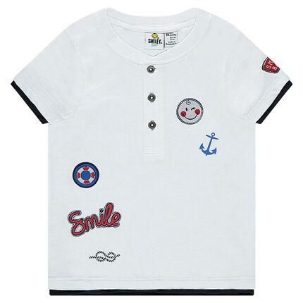 Tee-shirt manches courtes en jersey avec badges ©Smiley