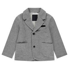 Blazer en jersey chiné avec détails en velours