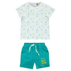 Ensemble de plage avec tee-shirt imprimé et bermuda