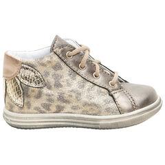 Bottillons en cuir effet léopard à lacets