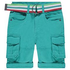 Bermuda cargo à poches et ceinture rayée amovible