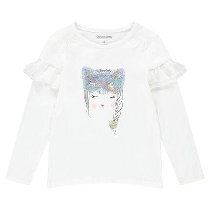 Tee-shirt manches longues en jersey avec visage et masque en sequins magiques