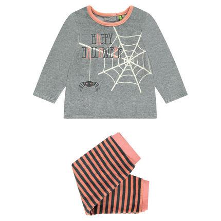 Pyjama en velours avec toile d'araignée printée HALLOWEEN