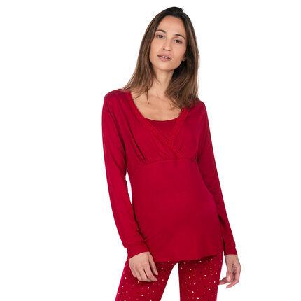 Tee-shirt homewear de grossesse et d'allaitement avec dentelle