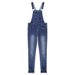 Junior - Salopette en jeans effet used doublée jersey