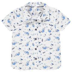 Chemise manches courtes à imprimés fantaisie all-over
