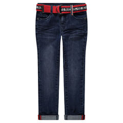35e5f660518 Jean effet used et crinkle avec ceinture rouge imprimée amovible