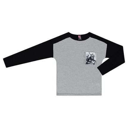 Junior - Tee-shirt manches longues bicolore avec poche printée
