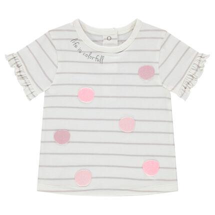 Tee-shirt manches courtes avec finition volantée et motifs printés