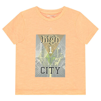Tee-shirt manches courtes en jersey slub avec print buildings