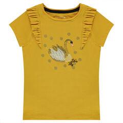 Tee-shirt manches courtes avec cygne printé et volants