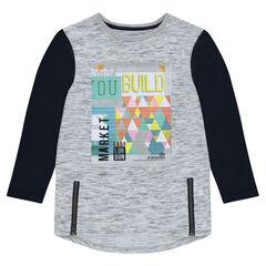 Junior - Tee-shirt long manches longues avec zips et print