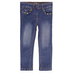 Jeans stretch avec rivets métalliques