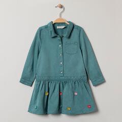 Robe manches longues forme chemise à pompons colorés
