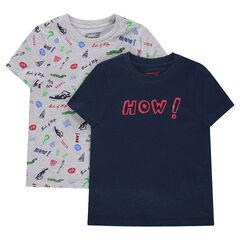 Lot de 2 tee-shirts manches courtes avec prints fantaisie