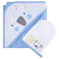 Set de bain en éponge avec cape print koala et gant brodé