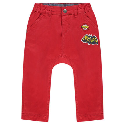 Pantalon en twill uni avec badge et print BATMAN