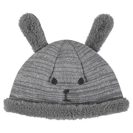 Bonnet en tricot et sherpa avec oreilles cousues
