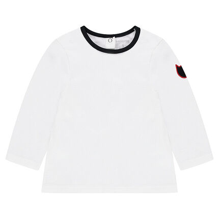 Tee-shirt manches longues en jersey avec badge forme chat