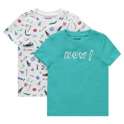 Lot de 2 tee-shirts manches courtes imprimé all-over / uni