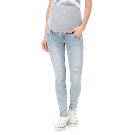 Jeans de grossesse skinny avec bandeau haut et perles rivetées