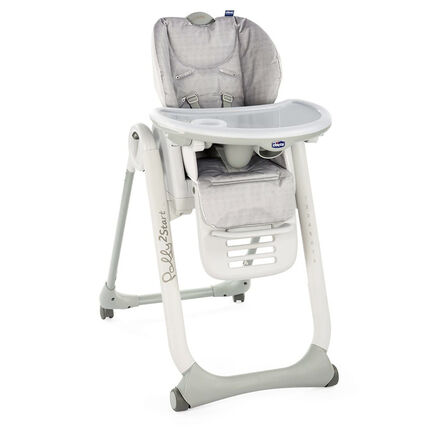Chaise haute réglable Polly2Start - Happy silver