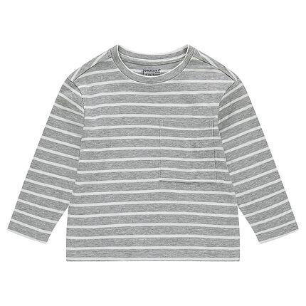 Junior - Tee-shirt manches longues en jersey fantaisie rayé avec poche