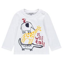 Tee-shirt manches longues en jersey avec animaux printés