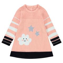 Robe manches longues en tricot avec nuage et étoiles en jacquard
