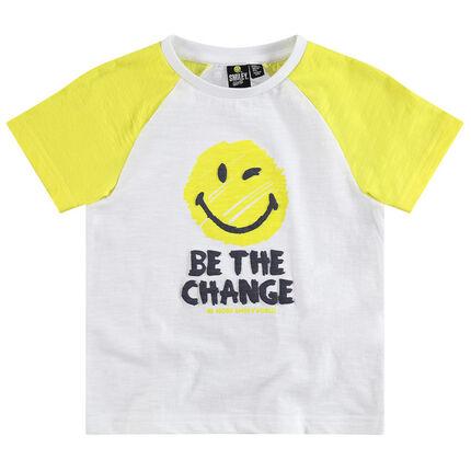 Tee-shirt manches courtes raglan avec print Smiley
