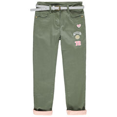 Pantalon en twill doublé jersey avec badges Smiley et ceinture pailletée