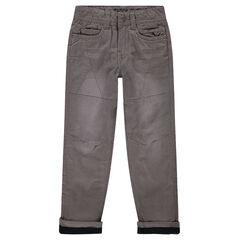 Pantalon droit en popeline de coton doublé micropolaire