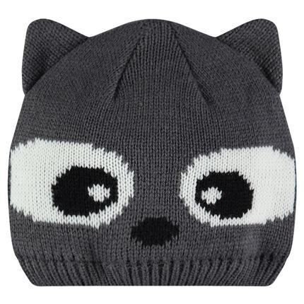 Bonnet en tricot avec oreilles cousues