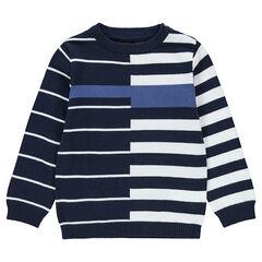 Pull en tricot avec rayures en jacquard all-over
