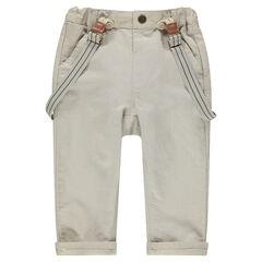 Pantalon en coton et lin avec bretelles amovibles élastiquées