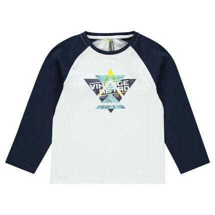 Tee-shirt manches longues raglan avec print géométrique
