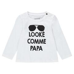 Tee-shirt manches longues en jersey avec print fantaisie et col pressionné
