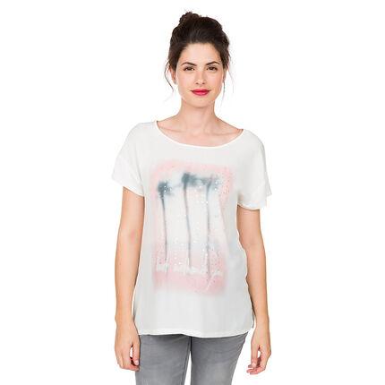 Tee-shirt manches courtes de grossesse avec palmiers printés