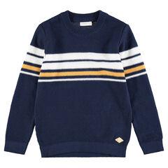 Pull en tricot avec bandes contrastées