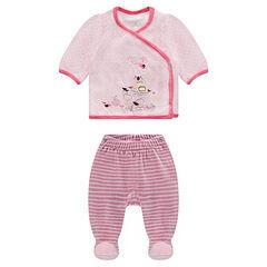 Pyjama naissance en velours imprimé pois et broderies fantaisie