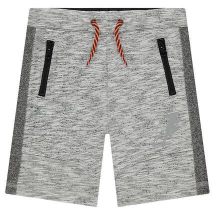 Bermuda en molleton fantaisie avec poches zippées